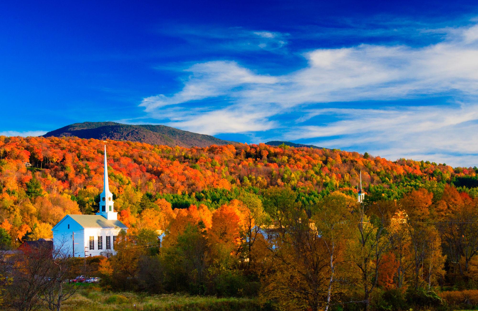 Paysage d'automne à Stowe dans le Vermont en Nouvelle-Angleterre