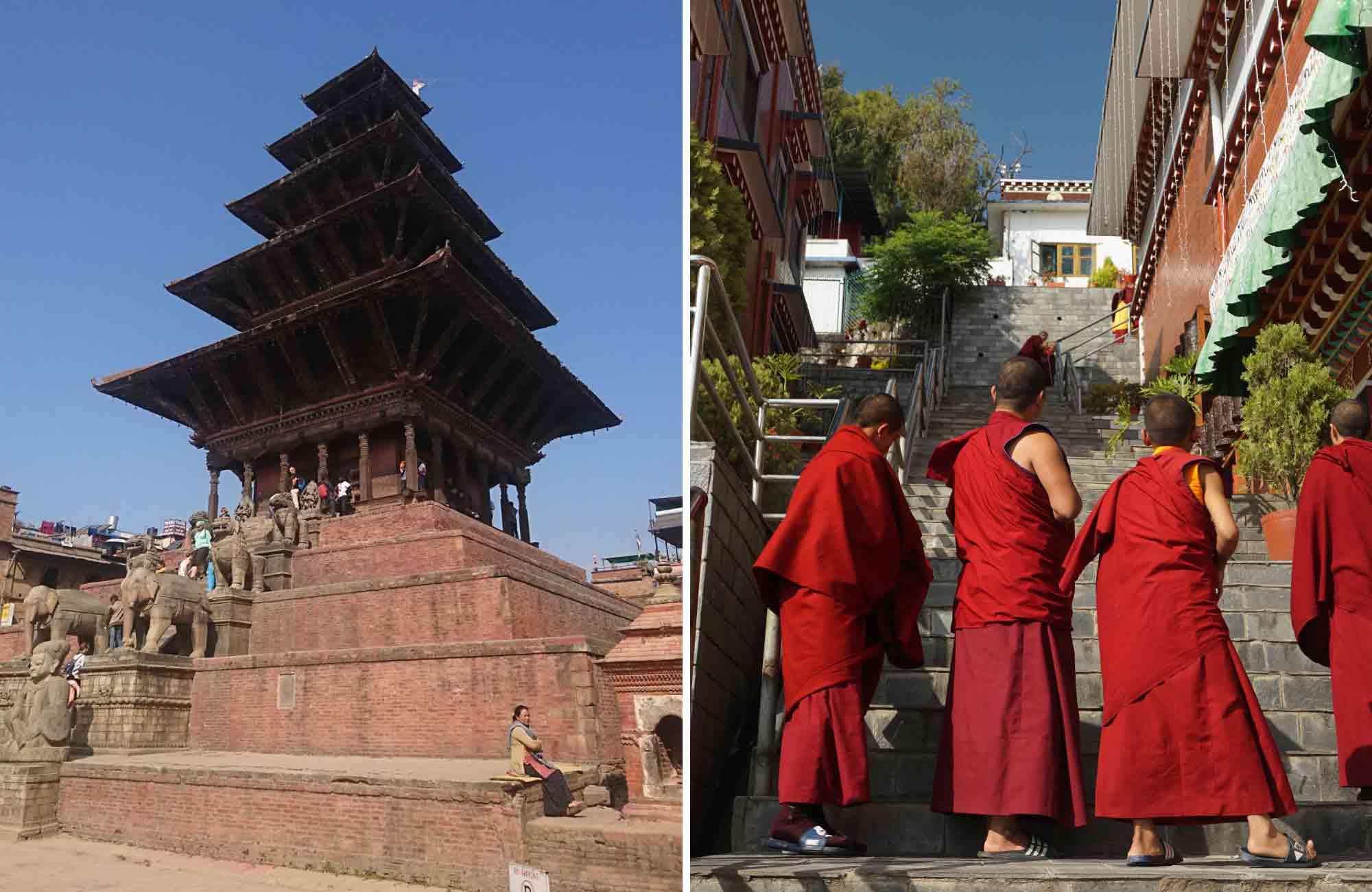 Temple de Bhaktapur et moines au Népal - Amplitudes voyage