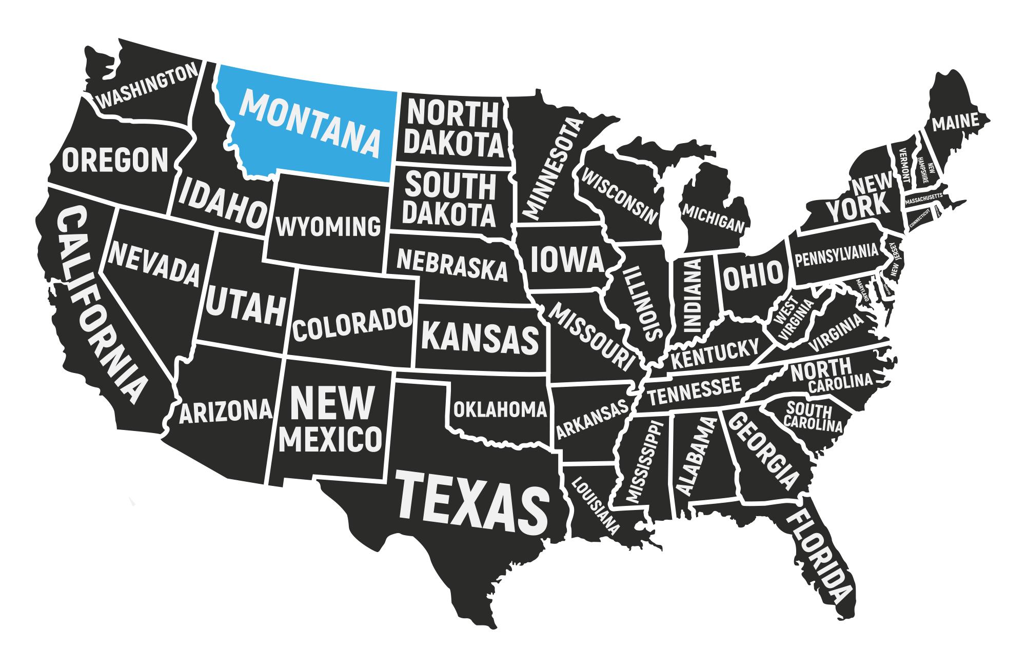 Voyage Montana - Carte Etats-Unis - Amplitudes