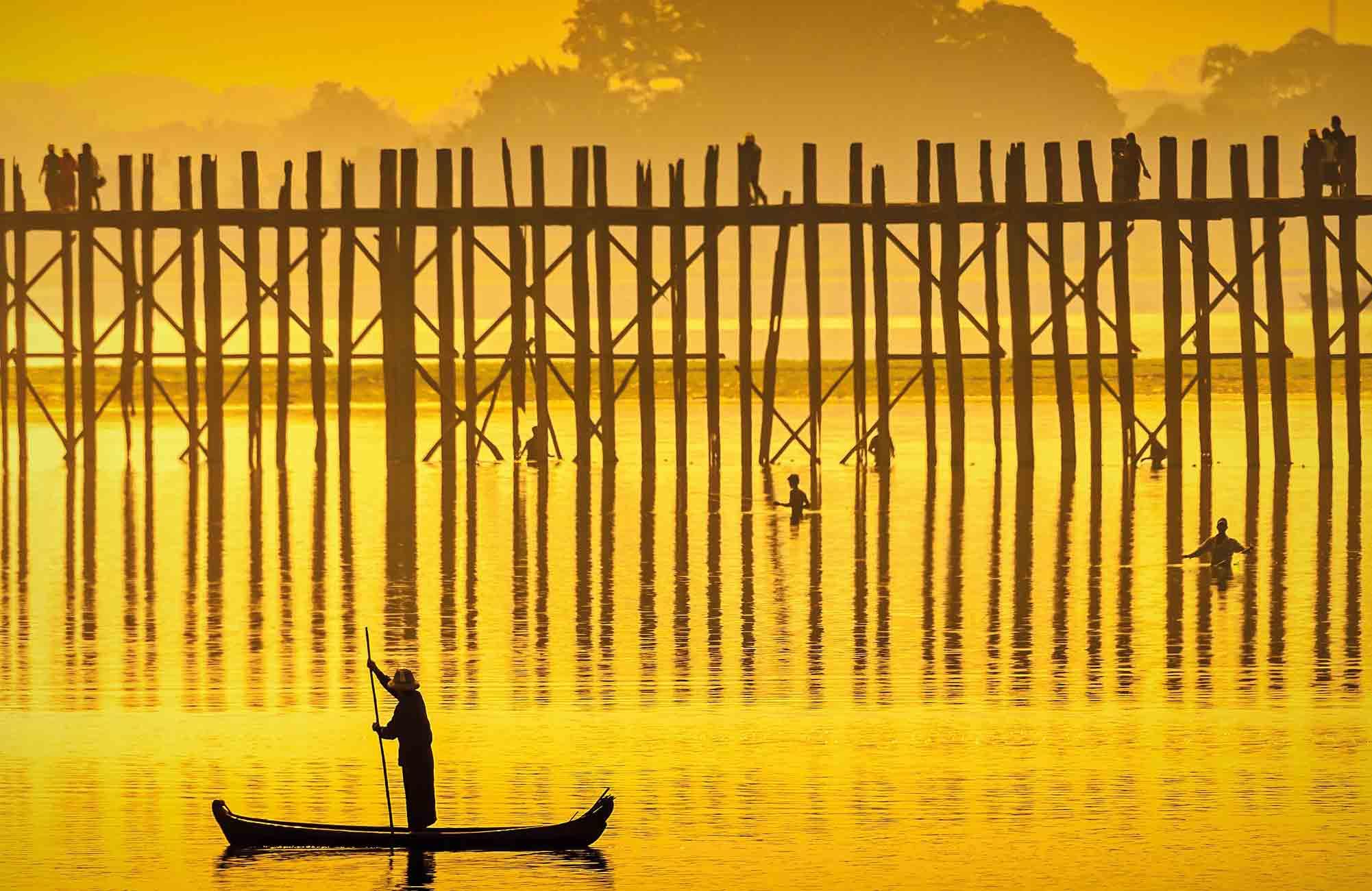 Pont U Bein en Birmanie en croisière sur l'Irrawaddy avec Amplitudes voyage