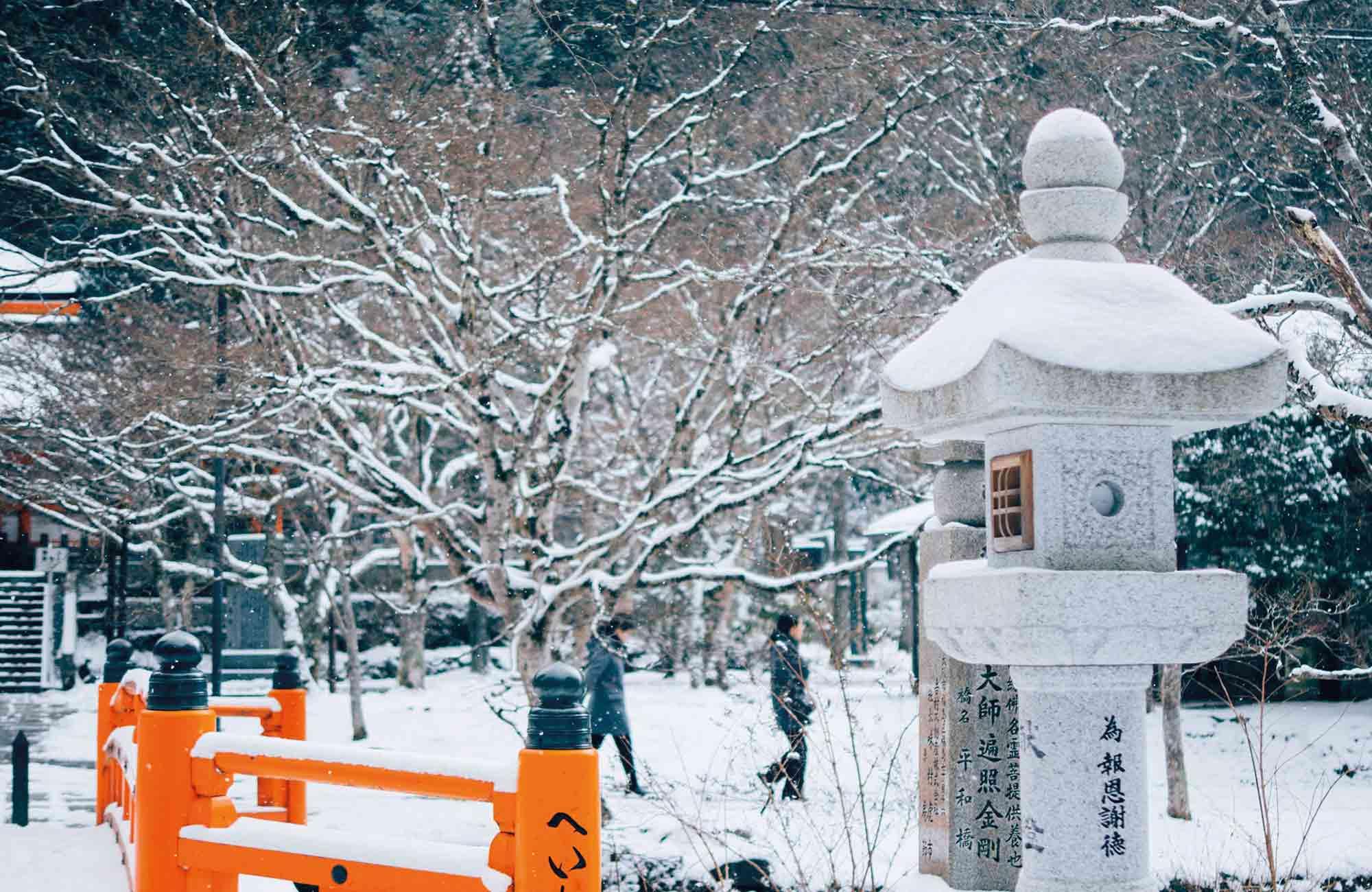 Vêtus d'un manteau blanc, Kyoto, le Mont Fuji ou encore Sapporo se remplissent de magie en période hivernale.