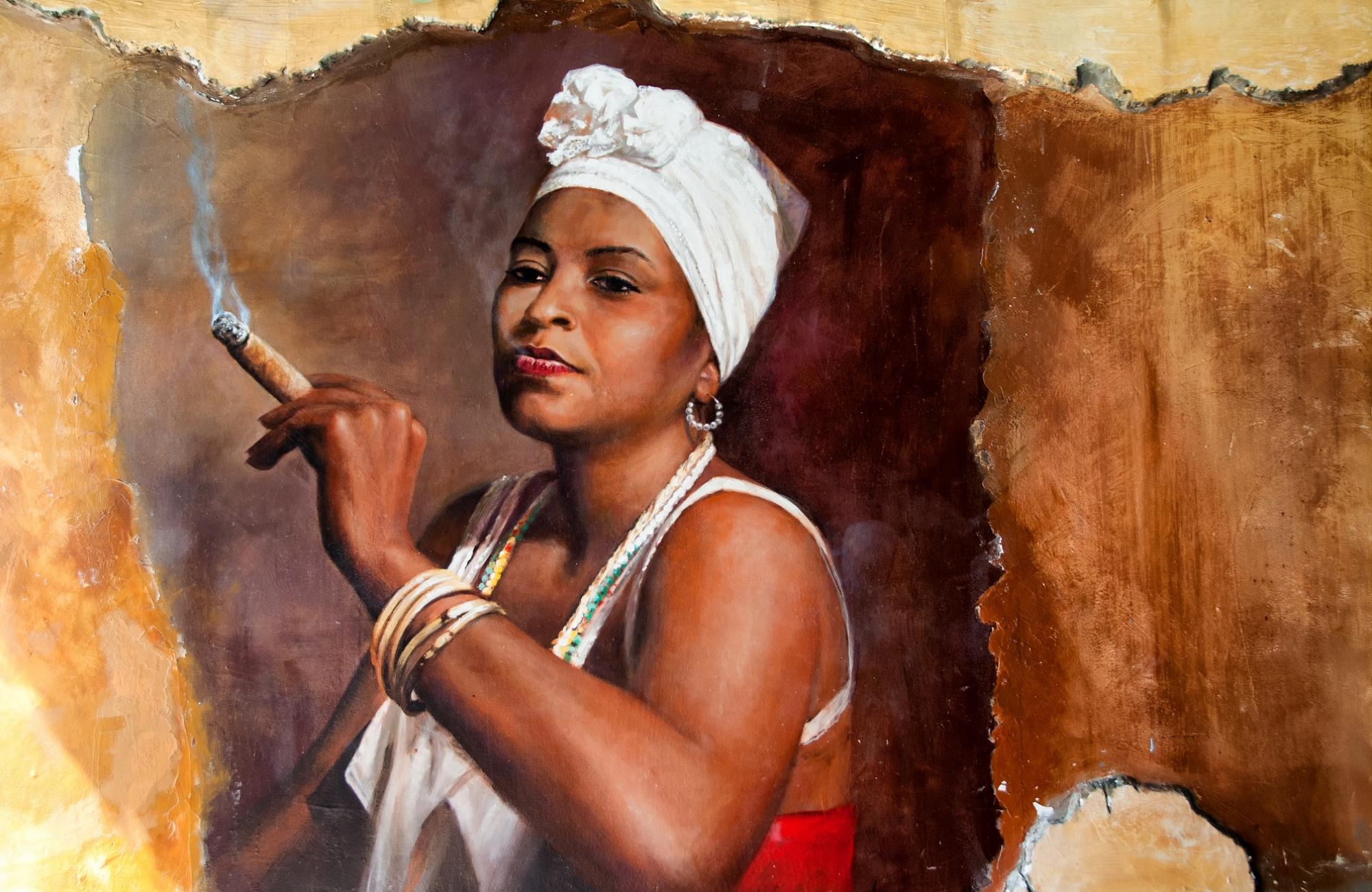 Voyage-Peinture -murale- femme- fumant-le- cigare- Amplitudes
