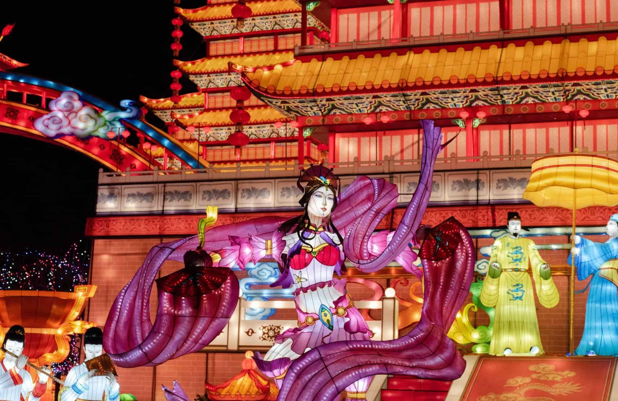 Ambiance festive et colorée du nouvel an chinois