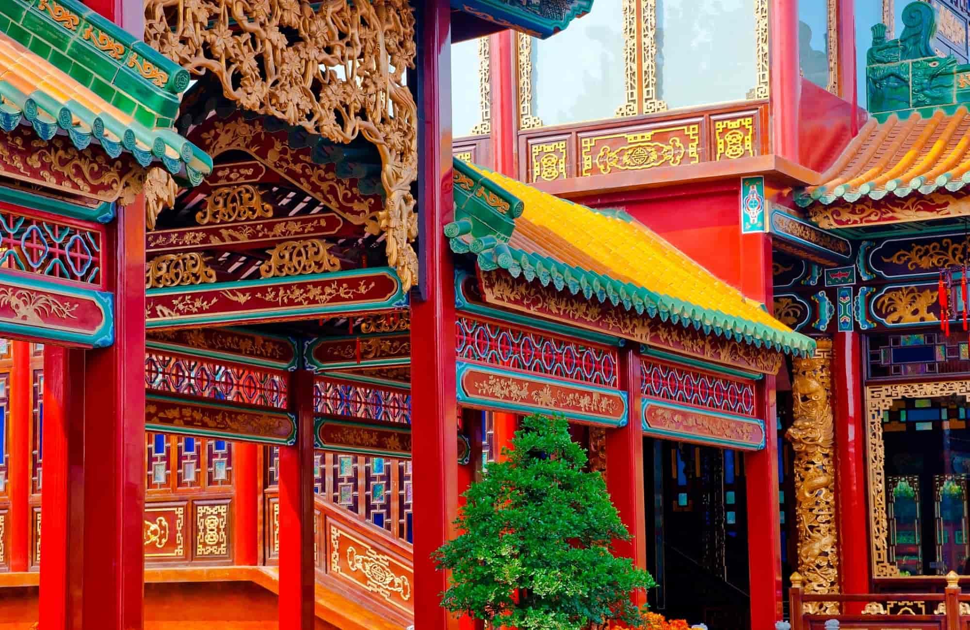 Façade d'un temple chinois
