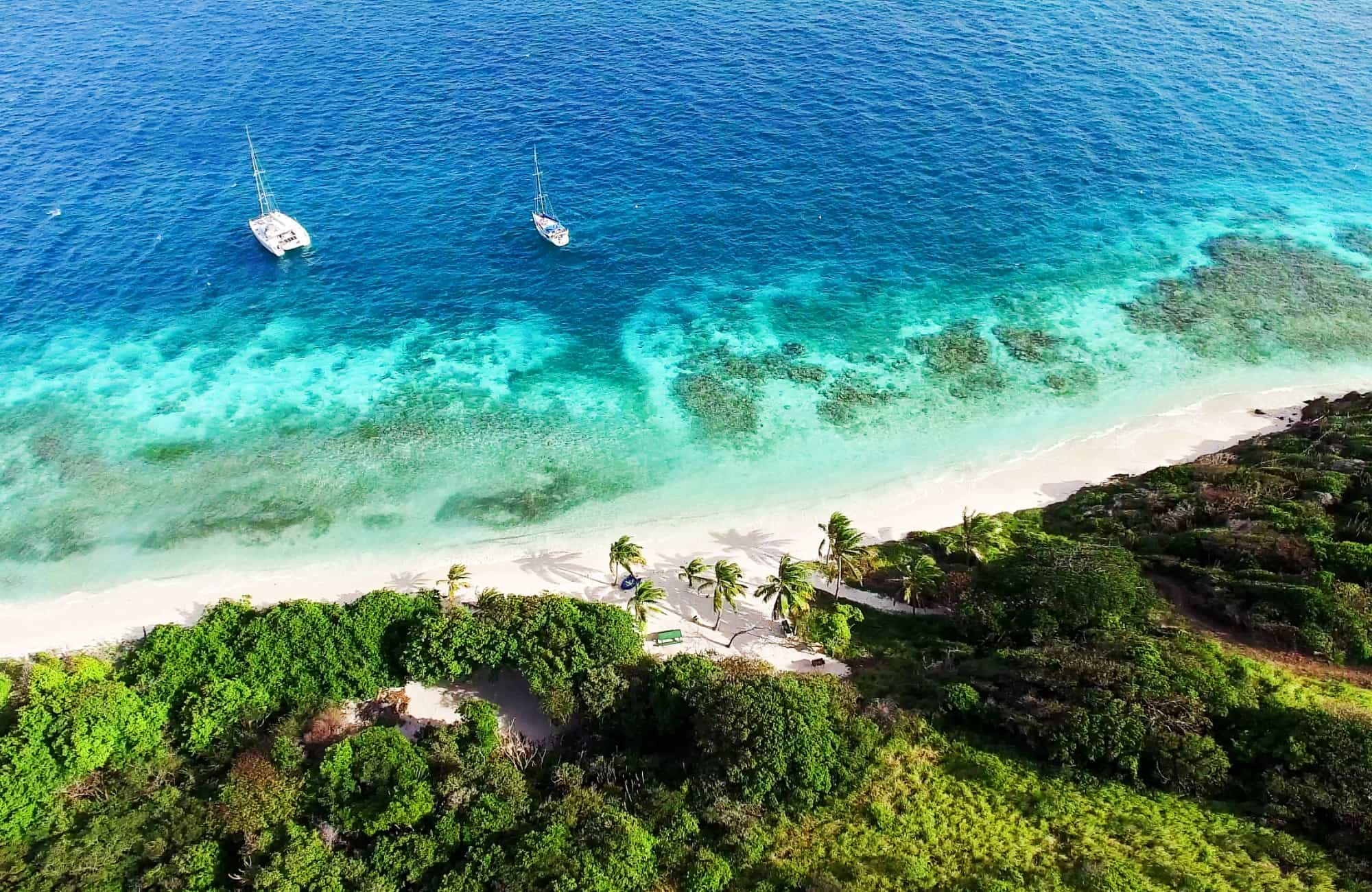 Vue sur l'île Tobago Cays sur l'archipel de Saint-Vincent et les Grenadines
