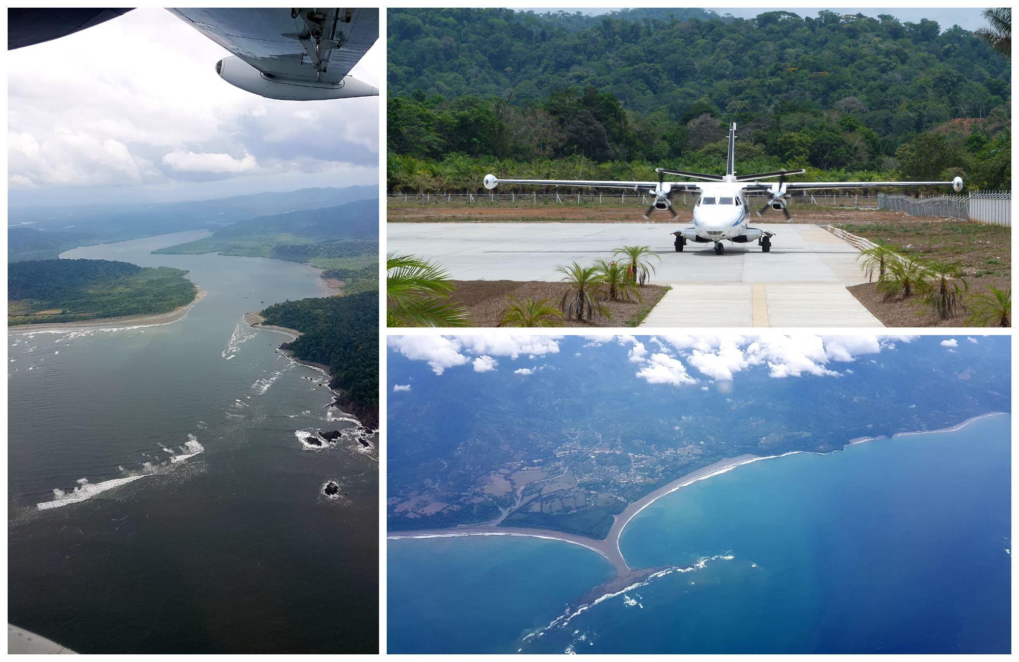 Depuis le ciel, les cotes costaricaines surplombent l'horizon