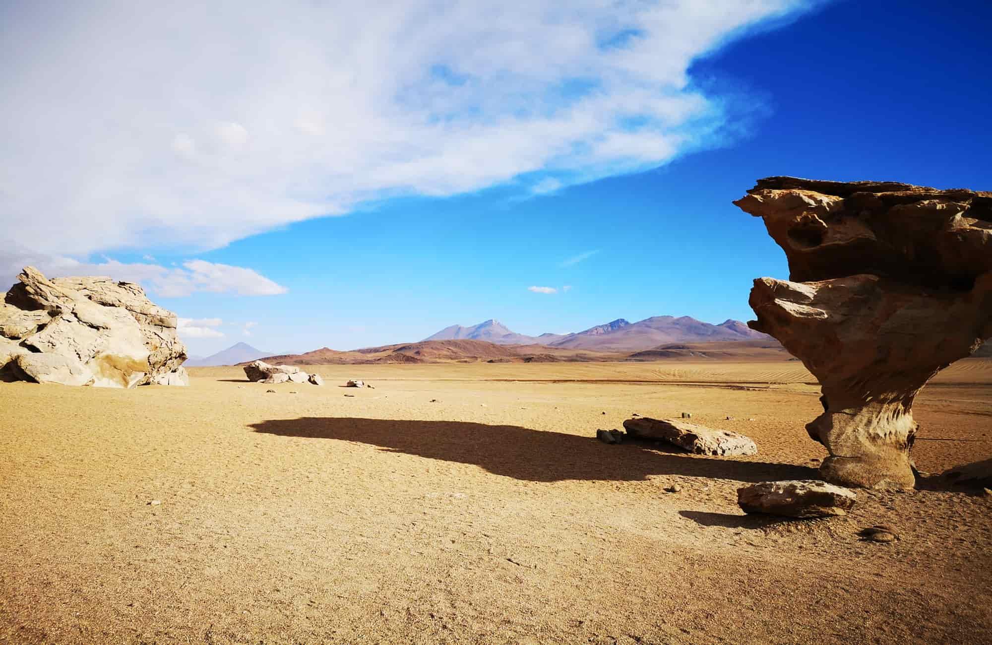 Traversez les déserts du Sud Lipez. De Siloli à Dali, admirez les structures taillées par le vent et les immensités sableuses.