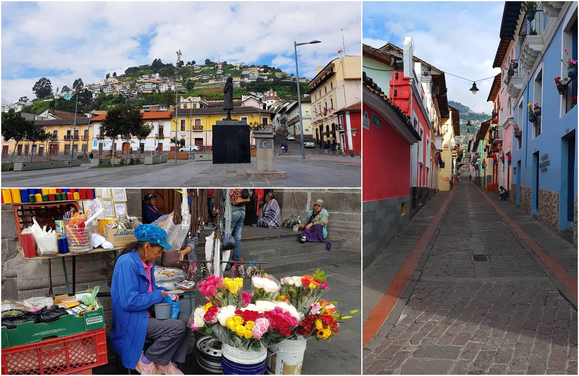 Maisons colorées, marché locale et place principale