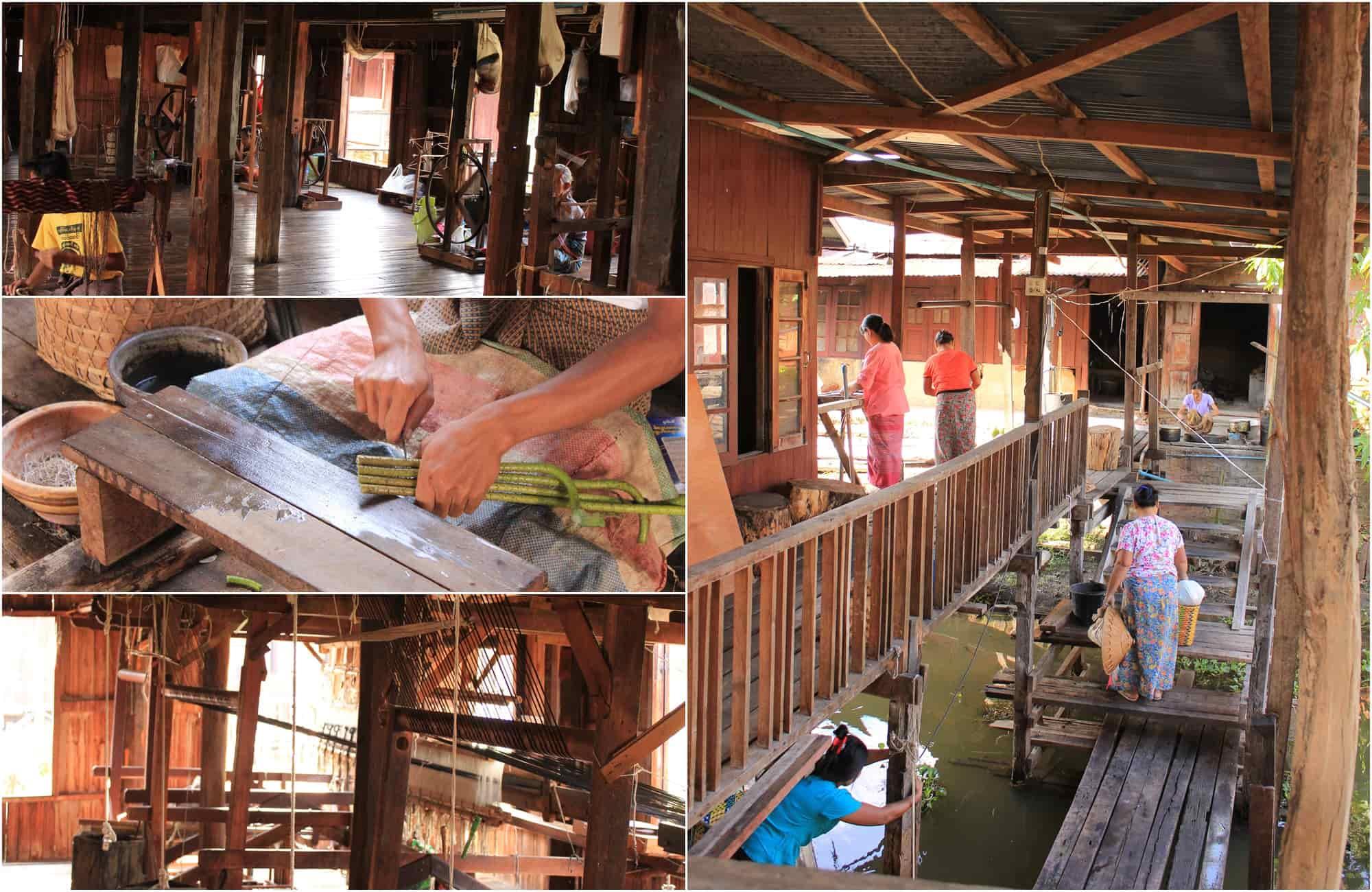 Voyage Birmanie - Lac Inle Atelier Tissage - Amplitudes