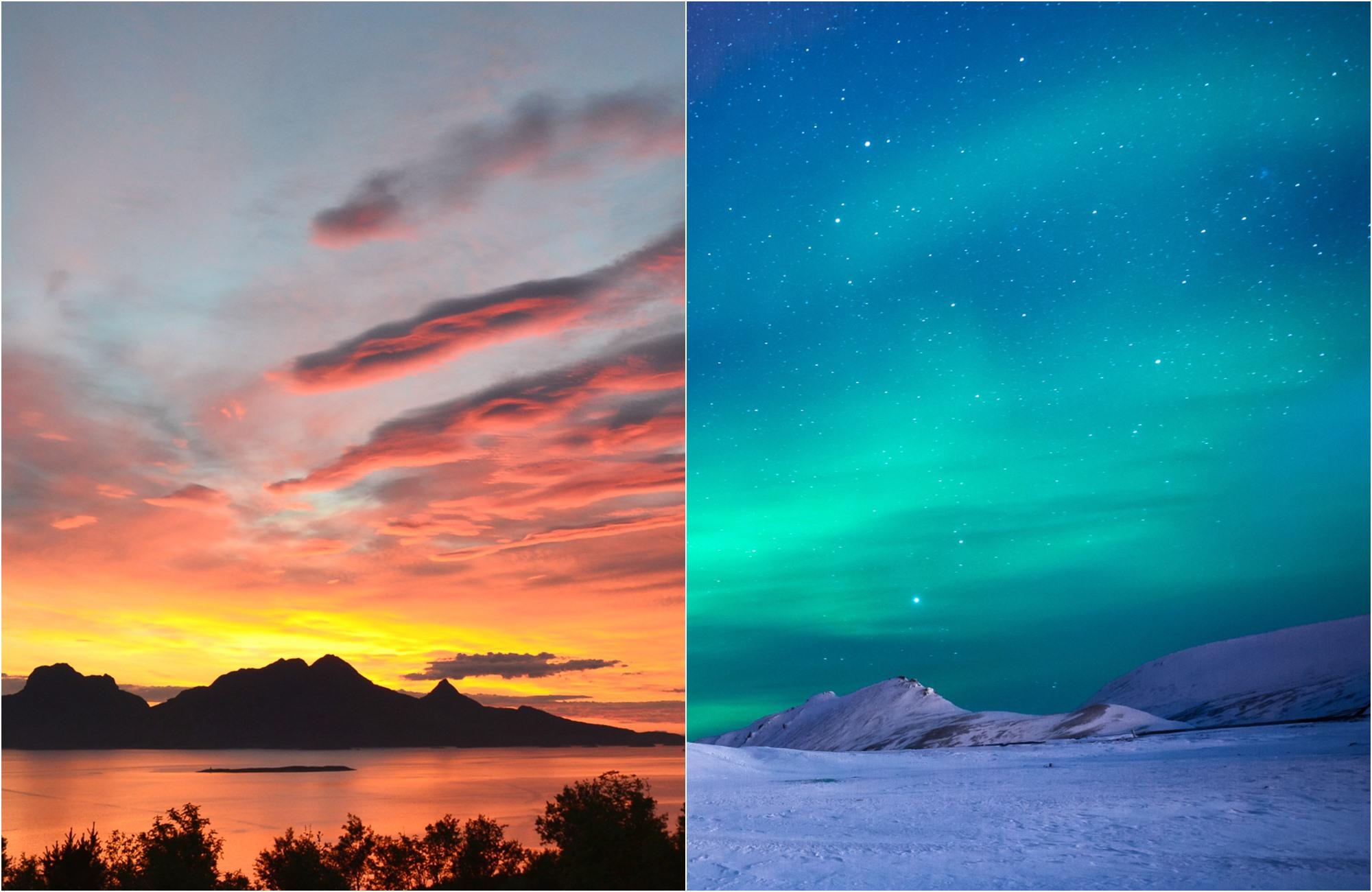Voyage Grand Nord - Aurore boréale versus soleil de minuit - Amplitudes