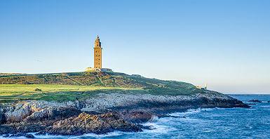 Espagne - Vue sur la tour-phare d'Hercules à Corogne