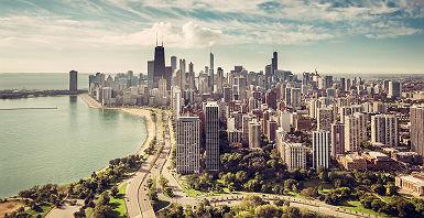 Chicago - Vue aérienne sur la ville et ses grattes-ciel