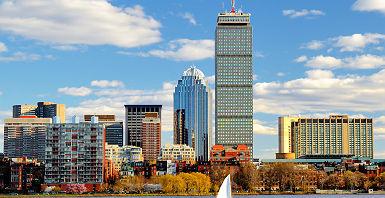Etats-Unis - Boston - Vue sur la baie et les grattes-ciel