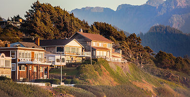 Oregon - Maisons en bord de mer sur la côté