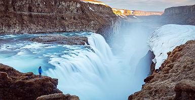 Islande - Vue sur la cascade Gullfoss dans le canyon Hvita
