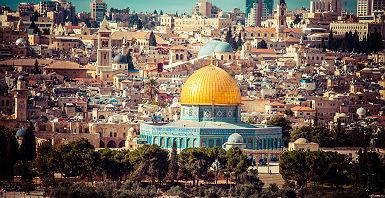 Vue de Jérusalem et du Dome du Rocher (où coupole du Rocher) à Jerusalem - Israël