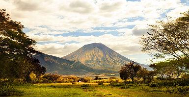 Nicaragua - Vue sur les plantations de tabac et le volcan Conception sur l'île d'Ometepe