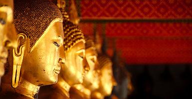Thaïlande - Rangée de statues de bouddha dans le temple de Wat Pho, Bangkok